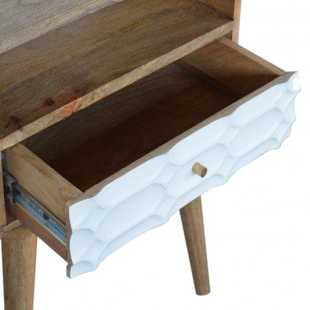 Berg Carved Front Bedside Unit with Open Slot - Open Drawer Detail