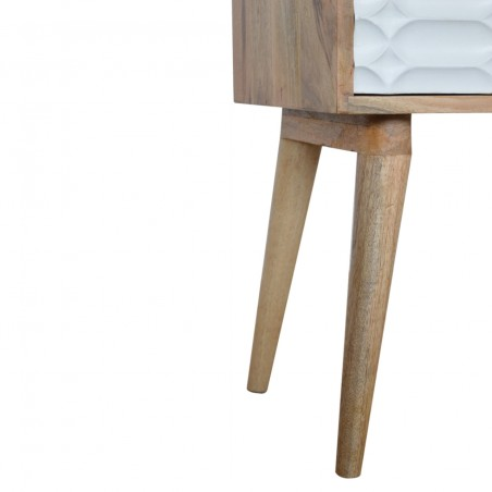 Berg Carved Front Bedside Unit with Open Slot - Leg Detail