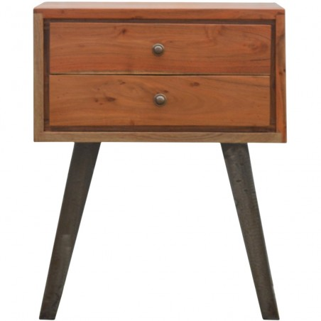 Brownstone Two Drawer Bedside Table - Front View
