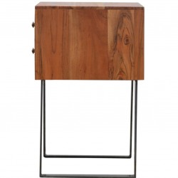 Brownstone Two Drawer Bedside Table - Side View