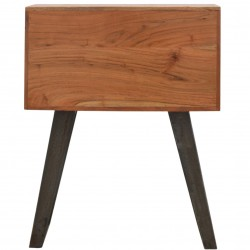 Brownstone Two Drawer Bedside Table - Rear View