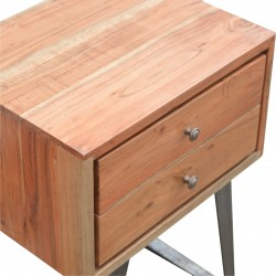 Brownstone Two Drawer Bedside Table - Closed Drawer Detail