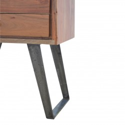 Brownstone Two Drawer Bedside Table - leg Detail
