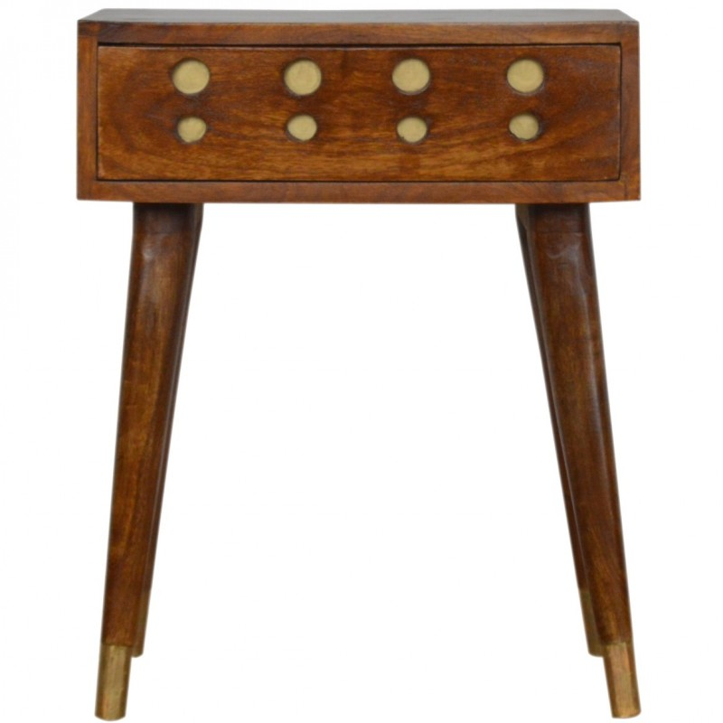 Chester Brass Inlay Cut Out Bedside Table - Front View