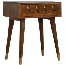 Chester Brass Inlay Cut Out Bedside Table - Angled View