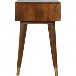 Chester Brass Inlay Cut Out Bedside Table - Side View
