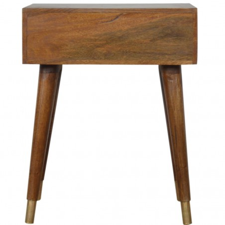 Chester Brass Inlay Cut Out Bedside Table - Rear View