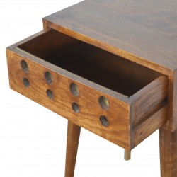 Chester Brass Inlay Cut Out Bedside Table - Open Drawer Detail
