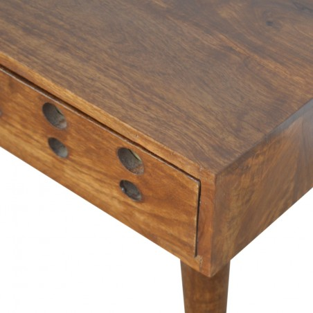 Chester Brass Inlay Cut Out Bedside Table - Closed Drawer Detail