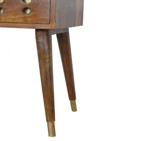 Chester Brass Inlay Cut Out Bedside Table - Leg Detail
