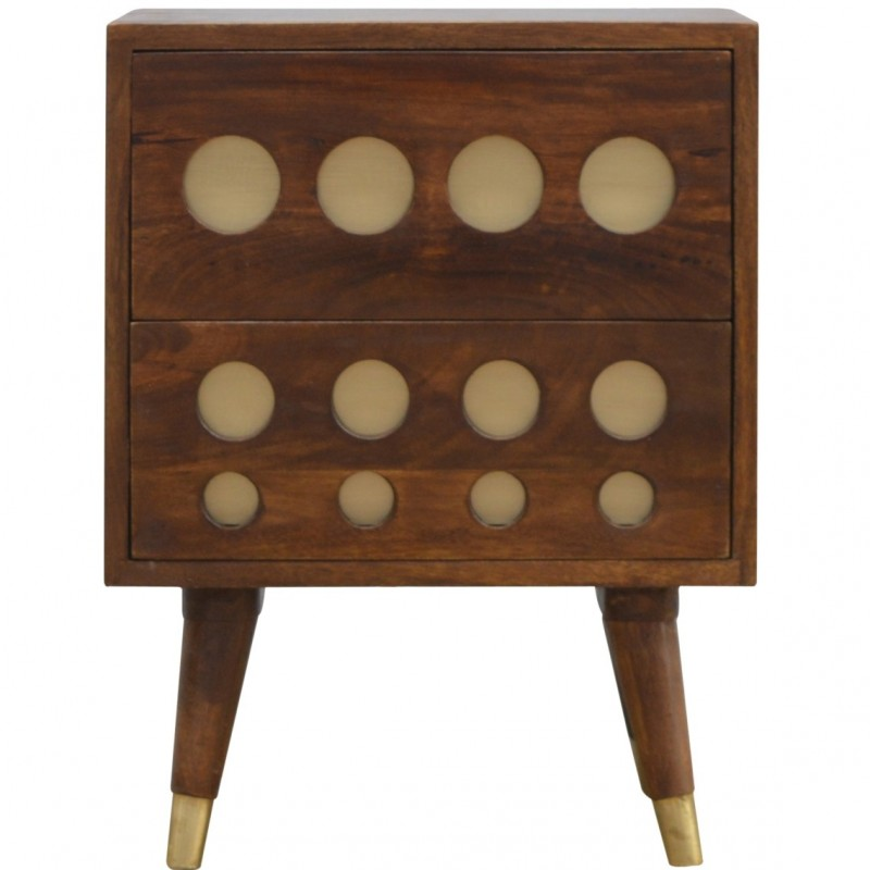 Chester Brass Inlay Cut Out Two Drawer Bedside Table - Front View