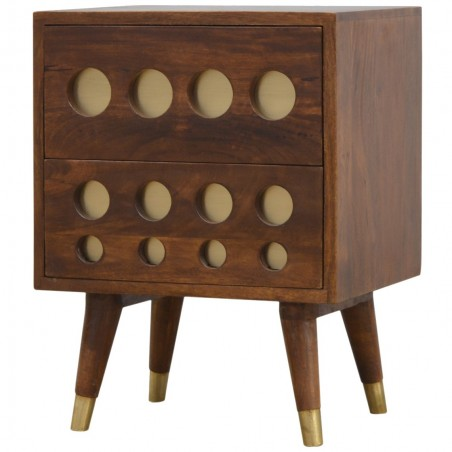 Chester Brass Inlay Cut Out Two Drawer Bedside Table