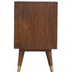 Chester Brass Inlay Cut Out Two Drawer Bedside Table - Side View