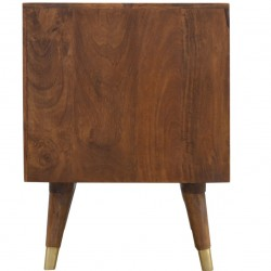 Chester Brass Inlay Cut Out Two Drawer Bedside Table - Rear View
