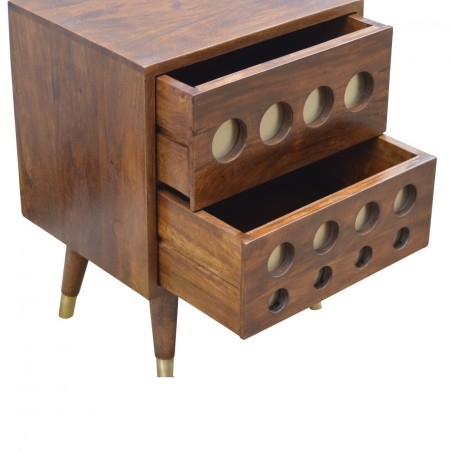 Chester Brass Inlay Cut Out Two Drawer Bedside Table - Open Drawer Detail