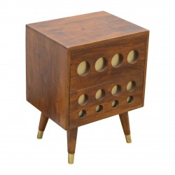 Chester Brass Inlay Cut Out Two Drawer Bedside Table - Closed Drawer Detail