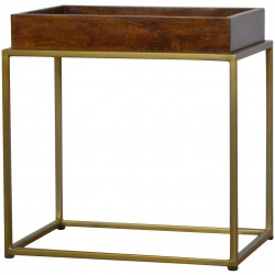 Chester Tray Table with Gold Base - Angled View