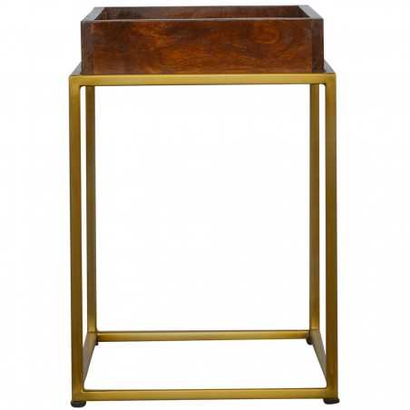 Chester Tray Table with Gold Base - Side View