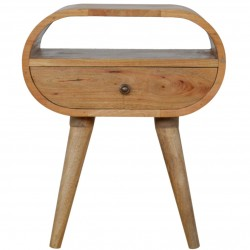 Chester One Drawer Circular Bedside Unit - Oak Front View