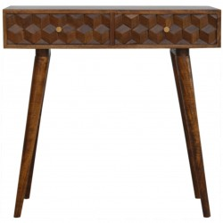 Chester Cube Carved Front Console Table - Cube Front View