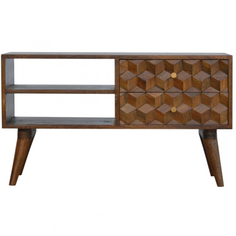 An image of Chester Geometric Carved Two Drawer Media Unit - Chestnut Diamond
