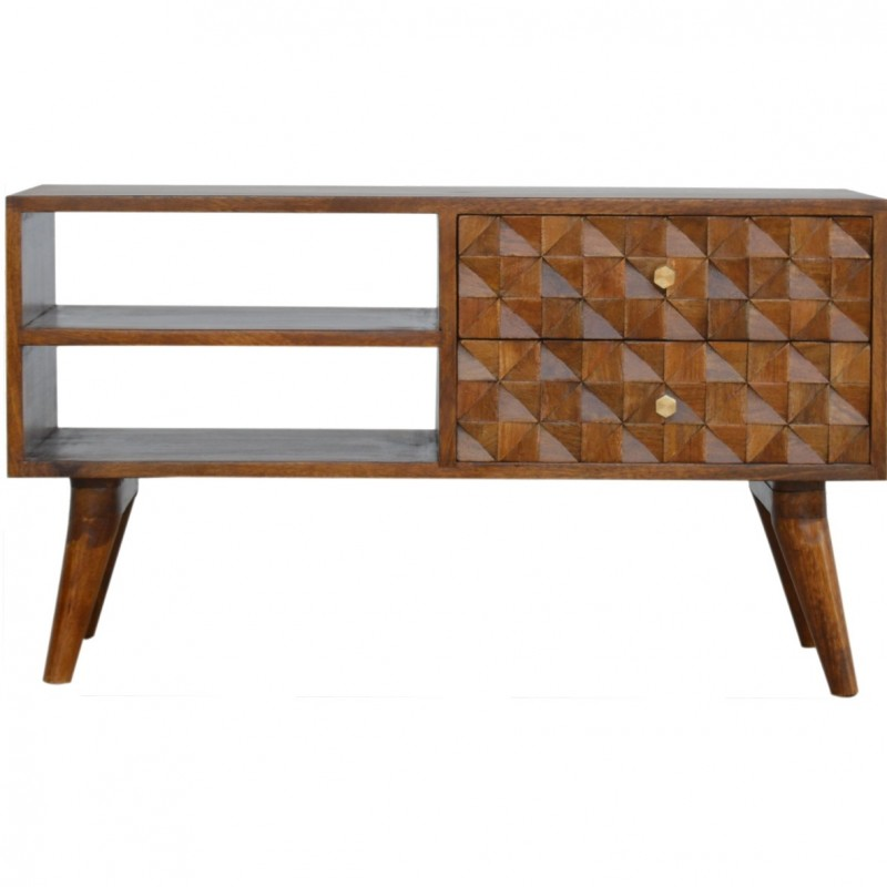 Chester  Cube Carved Two Drawer Media Unit - Chestnut Diamond Front View