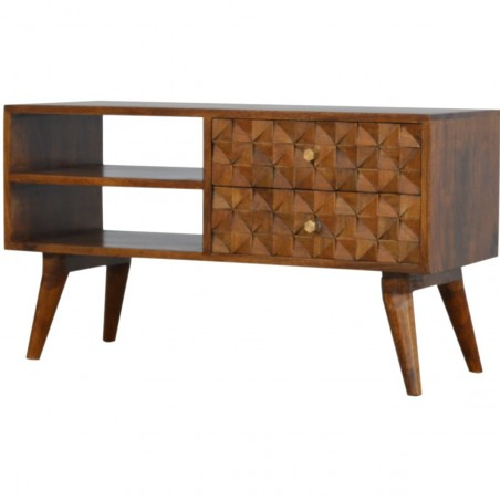 Chester  Cube Carved Two Drawer Media Unit - Chestnut Diamond