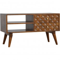 Chester  Cube Carved Two Drawer Media Unit - Chestnut Diamond Angled View