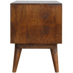 Chester  Cube Carved Two Drawer Media Unit - Chestnut Diamond Side View