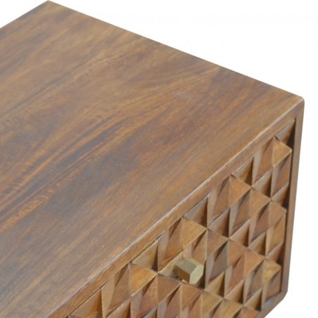 Chester  Cube Carved Two Drawer Media Unit - Chestnut Diamond Closed Drawer Detail