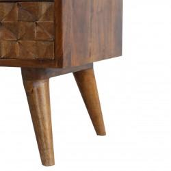Chester  Cube Carved Two Drawer Media Unit -  Chestnut Diamond Leg Detail