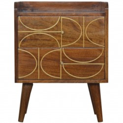 Chester Gold Inlay Abstract Two Drawer Bedside Table - Front View