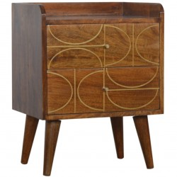 Chester Gold Inlay Abstract Two Drawer Bedside Table