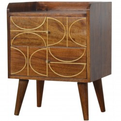 Chester Gold Inlay Abstract Two Drawer Bedside Table - Angled View