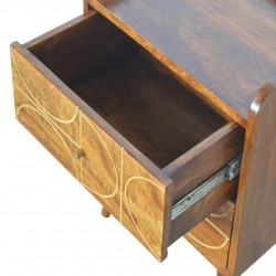 Chester Gold Inlay Abstract Two Drawer Bedside Table -  Open Drawer Detail