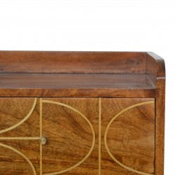 Chester Gold Inlay Abstract Two Drawer Bedside Table - Closed Drawer Detail