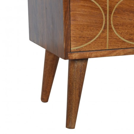 Chester Gold Inlay Abstract Two Drawer Bedside Table - Leg Detail