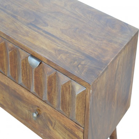 Prism Carved Two Drawer Media Unit -  Closed Drawer Detail