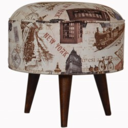 Capital City Print Footstool - Front View