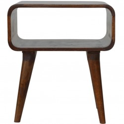 Curved Open Bedside Unit - Chestnut Front View