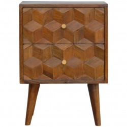Chester Cube Carved Two Drawer Bedside Table - Front view