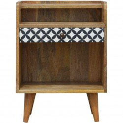 Diamond Style One Drawer Bedside Table - Front View