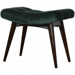 Saddleworth Velvet Upholstered Bench - Green Angled View
