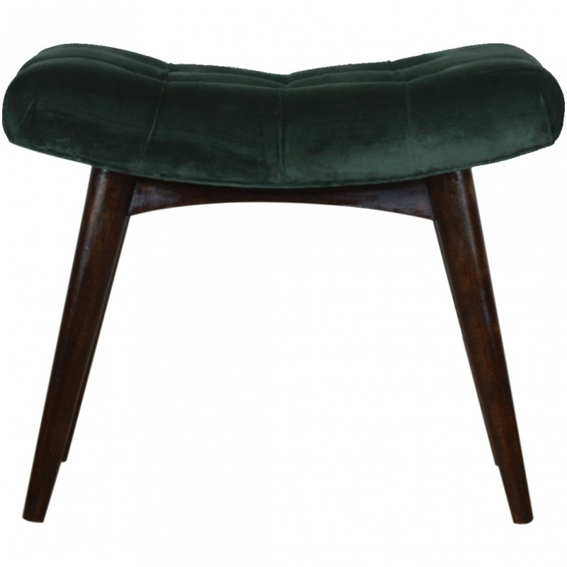 Saddleworth Velvet Upholstered Bench - Green Front View
