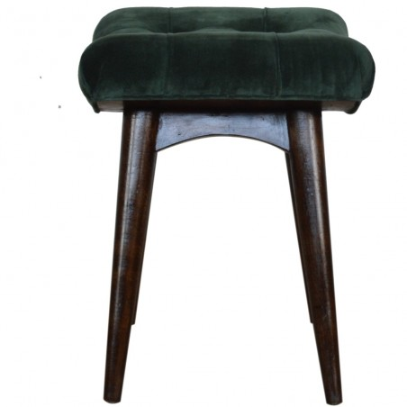 Saddleworth Velvet Upholstered Bench - Green Side View