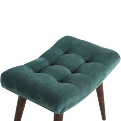 Saddleworth Velvet Upholstered Bench - Green Top View