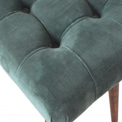 Saddleworth Velvet Upholstered Bench - Green Pattern Detail