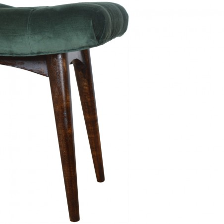Saddleworth Velvet Upholstered Bench - Green Leg Detail