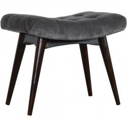 Saddleworth Velvet Upholstered Bench - Grey Angled View
