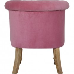 Cotton Velvet Accent Chair - Pink Rear View